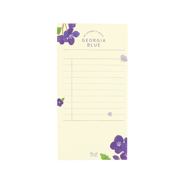 GRACEBELL Flower Memo Pad 03. Georgia Blue