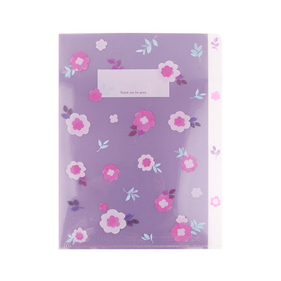 Grace Bell Flower 3 pocket file holder 04. Purple Daisy