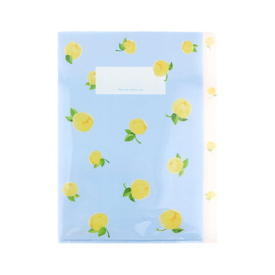 Grace Bell Flower 3 pocket file holder 02.Chiffon Yellow