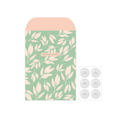 Gift Wrap Envelope Flower Set L-01.Mint Tree