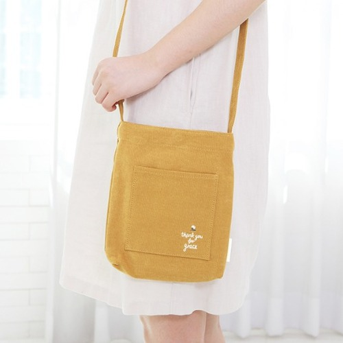 Gracebell Flower Mini Cross Bag 02. Mustard