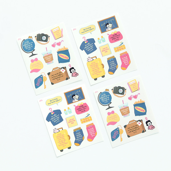 GRACEBELL Hello Dundun self cutting sticker(4pcs) 03.Travel