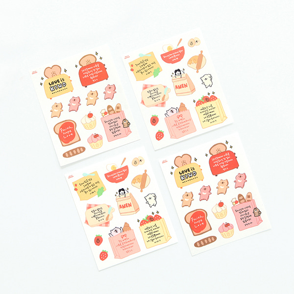 GRACEBELL Hello Dundun self cutting sticker(4pcs) 02.Bread