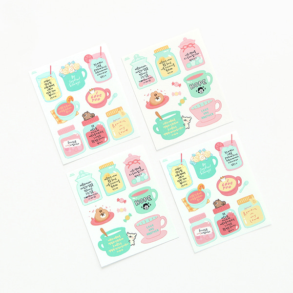 GRACEBELL Hello Dundun self cutting sticker(4pcs) 01.Cafe