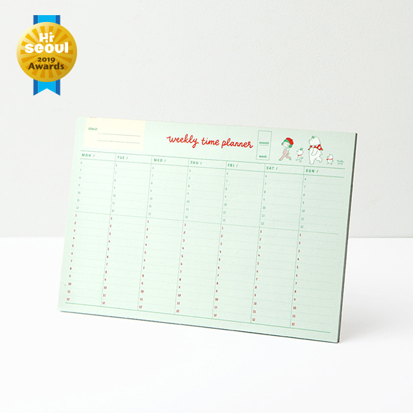 Hello Jane Weekly planner pad 05.Green(Time)
